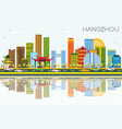 hangzhou china skyline with color buildings blue vector image vector image