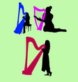 harp musical player silhouette vector image