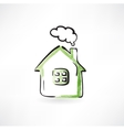 house with smoke from the chimney vector image vector image