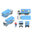 isometric christmas and new year delivery truck vector image