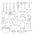 kitchenware collection black outline silhouettes vector image