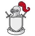 medieval knight helmet shield crossed swords vector image
