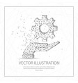 open hand with cogwheel digitally drawn low poly vector image vector image