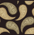 paisley pattern background golden floral ornament vector image vector image
