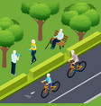 pensioners outdoor activity isometric vector image