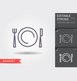 plate fork and knife line icon with shadow and vector image vector image