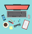 realistic technology workplace organization top vector image