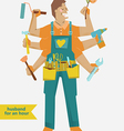 retro cartoon Handyman with different tools vector image