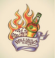roll dice - tattoo design vector image vector image