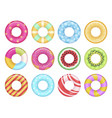 rubber swimming ring set sea fun and security vector image vector image