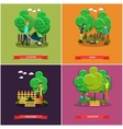 set of gardening farming concept posters vector image vector image