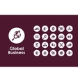 Set of global business simple icons vector image