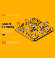 smart farming isometric landing page with robots vector image