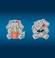 sticker elephant3d glasses gamepad vector image