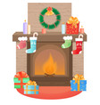 the fireplace is decorated for christmas new vector image