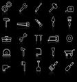 Tool line icons with reflect on black vector image vector image