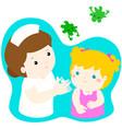 vaccination girl cartoon vector image vector image