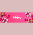 valentines day 3d pink love layout web banner vector image vector image