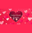 valentines day banner papercut and glitter hearts vector image