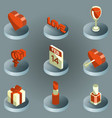 valentines day color isometric icons vector image