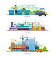 waste recycling factory architectural building vector image