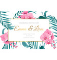 wedding invitation card frame orchid flower leaves vector image vector image