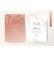 wedding invite luxury stylish rose gold card vector image vector image