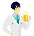 young asian doctor drinking beer vector image vector image