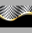 checkered flag gold line wave black sport race vector image