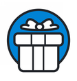 christmas circle blue icon new year vector image
