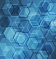 Abstract blue gradient background with hexagon vector image vector image