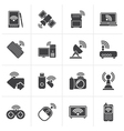 Black Wireless and communications icons vector image vector image