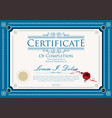 blue certificate retro vintage design template vector image