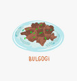 bulgogi grilled beef - traditional vector image