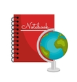 cartoon book and globe world graphic vector image