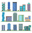 cartoon buildings icons set vector image vector image