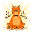 cartoon red cat sitting on lotus position yoga vector image vector image