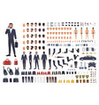caucasian businessman or clerk creation set or diy vector image