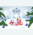 christmas banner holiday card present boxes in vector image