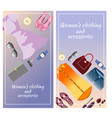 colored accessories vertical banner with clothing vector image vector image