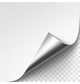 Curled Silver Metalic Corner of White Paper vector image