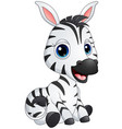cute baby zebra cartoon vector image