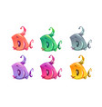 cute cartoon colorful little fishes set vector image vector image