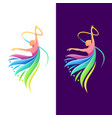 dancing color logo design vector image vector image