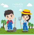 farm boy and girl vector image vector image