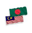 flags bangladesh and malaysia on a white