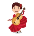 flamenco dancer with guitar isolated icon design vector image