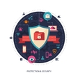 Flat design business with security