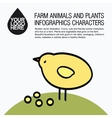 Flat design icons with farm animal - chicken vector image vector image