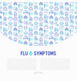 flu and symptoms concept thin line icons vector image